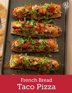 Have a loaf of French bread on hand? Forget the garlic toast and make this Mexican-inspired French bread pizza instead! It's a tasty way to mix up taco night, and there are no tortillas involved. For an even quicker dinner, make the ground beef mixture ahead and refrigerate.