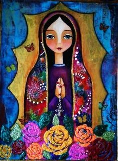 Our Lady of Guadalupe Blessed Mother Mary, Blessed Virgin Mary, Catholic Art, Religious Art, Immaculée Conception, Mama Mary, Mexican Folk Art, Angel Art, Sacred Art