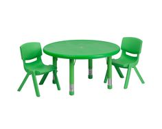 Flash Furniture - Round Adjustable Activity Table Set with 2 School Stack Chairs
