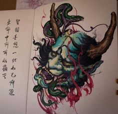 Chronic Ink Tattoo - Toronto Tattoo  Hannya mask and snake design done by Tony, done using water colours and pen. Took roughly 12 hours to complete.