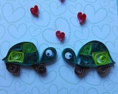 Cute Little Quilled Tortoises with Hearts Valentines by ToastyHugs Quilling Birthday Cards, Paper Quilling Cards, Origami And Quilling, Quilled Paper Art, Quilling Paper Craft, Paper Crafts, Quilling Flower Designs, Quilling Flowers, Paper Quilling Tutorial