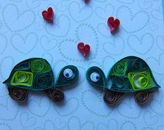 """Cute Little Steintaube Schildkröten mit Herzen Valentines Card 5 """"x 5"""" Blank"""