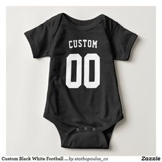 Black And White Football, Blue Football, Football Jerseys, Black White, Color Names Baby, Baby Names, Kids Sportswear, Personalized Football, Sports Baby