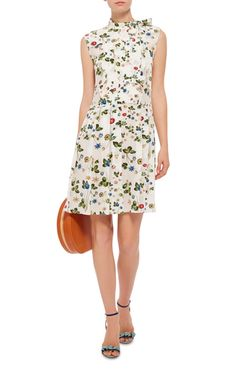 Silk Floral Printed Pleated Dress by CACHAREL Now Available on Moda Operandi