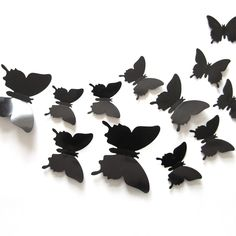 DIY 3D Butterfly Wall Stickers Mirror Art Decal PVC Paper for Home Showcase - 12Pcs