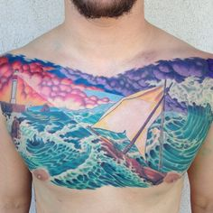 I love this chest piece! It's breathtaking! By Mike Pritchett @ Matchless Tattoo