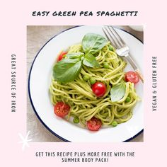 This Green Pea Spaghetti is SO easy to make and SO tasty! You can find this recipe and more in the Summer Ready 4 Week Guide! Get this guide FREE when purchasing a Summer Body Pack 😊  _  www.uniquemuscle.com.au 💕 Healthy Eating Habits, Healthy Tips, Healthy Food, Gluten Free Recipes, Vegan Recipes, Macro Meals, Green Peas, Workout Guide, Summer Body