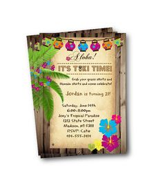 Luau Invitation birthday hawaiin party tiki time by PinkPopRoxx