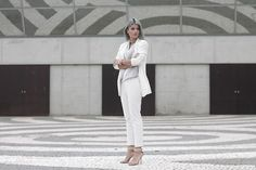 Get this look: http://lb.nu/look/8203609  More looks by Cátia  Sousa: http://lb.nu/nadaparavestir  Items in this look:  Zara Suit, Primark Blouse, Your Lovely Breeze Choker   #chic #formal #minimal #npv #nadaparavestir #suit #totalwhite #greyhair #zara