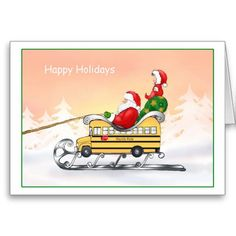 School Bus Driver Themed Christmas Cards