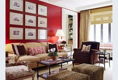 Red lacquered walls energize this room of browns and tans