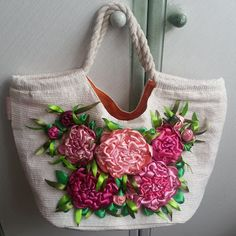Peonies. Ribbon embroidery bag decoration
