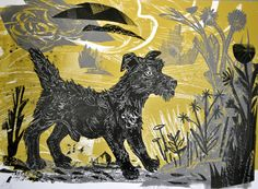 'Patterdale Grit' by Mark Hearld. Editioned at the Penfold Press (screenprint) Linocut Prints, Art Prints, A Level Art Sketchbook, Unique Paintings, Plant Illustration, Dog Art, Illustrations Posters, Printmaking, Screen Printing