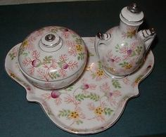 Five Piece Porcelain Vanity Tray with Jar and Perfume Bottle