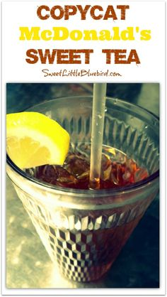Sweet Tea fans, here is a great recipe that is sure to hit the spot on a hot summer day. According to my girls and their friends, it tastes just like McDonald's Sweet Tea! Sweet Tea Recipes, Great Recipes, Favorite Recipes, Mcdonald's Sweet Tea Recipe, Smoothies, Smoothie Drinks, Summer Drinks, Fun Drinks, Beverages