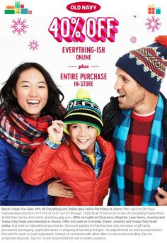 Pinned November 18th: 40% off everything at #OldNavy ditto online #TheCouponsApp