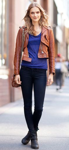cropped leather jacket with skinny jeans