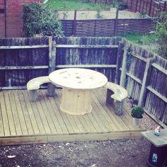 Cable drum garden furniture