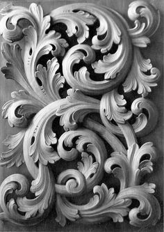 Acanthus wood carving www. Wood Carving Designs, Wood Carving Art, Wood Art, Wood Carvings, Wood Sculpture, Sculptures, Filigree Tattoo, Motif Floral, Wood Projects