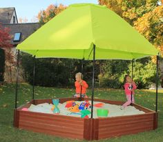 Frame It All Two Inch Series 7ft. x 8ft. x 11in. Composite Hexagon & Telescoping Hexagon Sandbox Canopy/Cover | Canopy cover Sandbox ...
