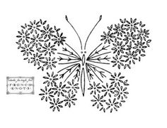 Daisies Butterfly. Embroidery and transfer patterns