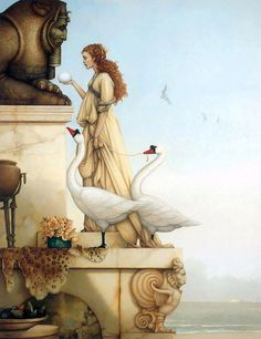 """""""The Riddle"""" oil painting by Michael Parkes"""