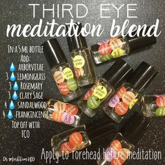 My most used blend is the Third Eye Meditation Blend Lacking focus and having difficulty setting and holding your intention? This blend is perfect! Use your preferred dilution ratio to achieve the strength that works best for you. There is no right way to do this! Arborvitae to receive help from God / Source. Frankincense for truth and to strengthen your connection to your higher power Sandalwood to for respect for divinity, calming the mind, to still the heart, and prepare us to com...
