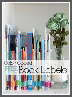 FREE Printable Color-Coded Book Spine Labels for home library organization - 30 topics PLUS a blank template for absolute customization | VanillaJoy.com