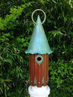 Hammered Copper Wren Home II: Arts and Crafts style birdhouse for wrens handmade from recycled materials