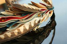 Modern natural take on a kanzashi headband