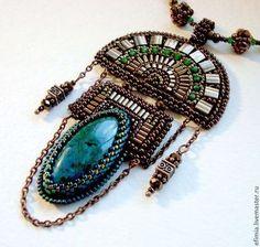 "Fair Masters - handmade Pendant ""Treasure of the Incas"". Bead Embroidery Patterns, Bead Embroidery Jewelry, Beaded Embroidery, Jewelry Art, Beaded Jewelry, Jewelry Design, Beaded Necklace, Handmade Necklaces, Handmade Jewelry"