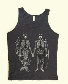 Men and Women Unisex SKELETONS Mermaid and Surfer Tank Top XS, S, M, L, XL, More Colors