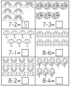 Spring Math Centers for Kindergarten B&W Preschool Learning, Kindergarten Worksheets, Teaching Math, Math Activities, Math Addition Worksheets, First Grade Math Worksheets, Math Subtraction, Niklas, Math For Kids