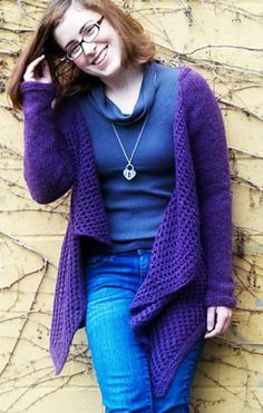 Free knitting pattern for Cirriform Cardigan in super bulky yarn and more draped front cardigan knitting patterns