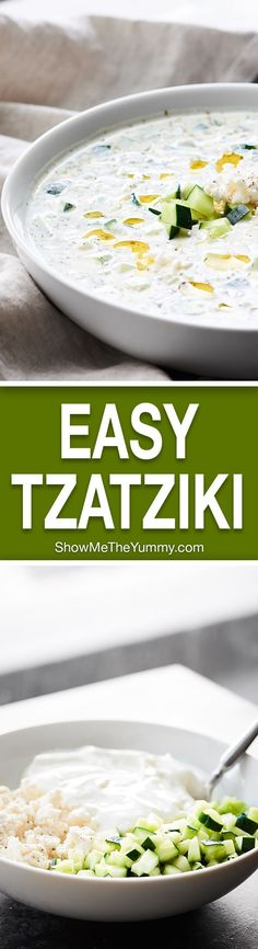 A simple sauce made of non fat plain greek yogurt, garlic, and cucumbers, this Easy Tzatziki Recipe comes together in a matter of minutes and is the perfect, healthy, flavorful addition to any meal! http://showmetheyummy.com #tzatziki #yogurtsauce