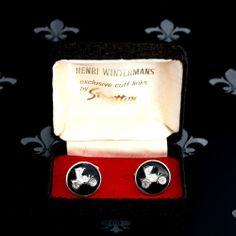 Henri Winterman's by Stratton Vintage Gents Cufflinks Antique Car Original Box