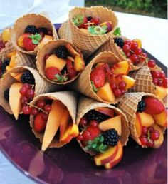 Waffle Cone Fruit Cups, perfect for groups for a healthy dessert while looking pretty!