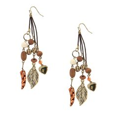 Leaf, Heart, Horn and Beads Cluster Drop Earrings | Claire's