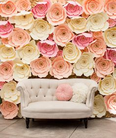 Wedding Paper Floral Wall by Angie of Flores De Papel by Angie featuring our Erin Cute-as-a-Button Loveseat
