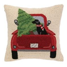 $27.99 Lab and Christmas Tree Truck Hook Wool Throw Pillow (aff link)