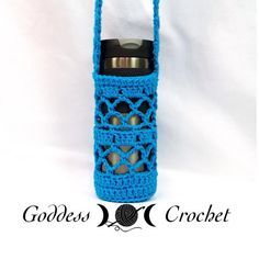 "Free Crochet Pattern - ""What a Mesh"" Water Bottle Holder. Written pattern AND chart!"