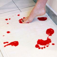 A bathmat that turns red to look like blood when you step on it with wet feet. So not a relaxing end to a nice shower!