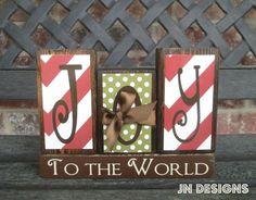 Christmas blocks Joy to the Worldred by jjnewton on Etsy