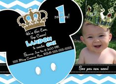 Prince Mickey Mouse Birthday Invitation Blue & by LizzyCakeDesigns Mickey 1st Birthdays, Mickey Mouse Birthday Invitations, Mickey Birthday, Mickey Party, Prince Birthday Party, 1st Birthday Themes, Baby First Birthday, 1st Birthday Parties, Mickey Baby Showers
