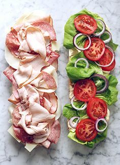 ULTIMATE PARTY SUB [USA, Regional Northeast, Italian-American Cuisine] [purewow] [submarine sandwich, sub, wedge, hoagie, hero, grinder, blimpie, gatsby, po' boy, zeppelin, zep, spuckie]