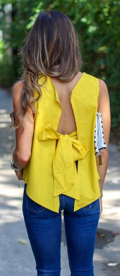 #spring #outfits Bow Back✨ This Top Is Only $8 // Yellow Bow Back Top + Navy Skinny Jeans