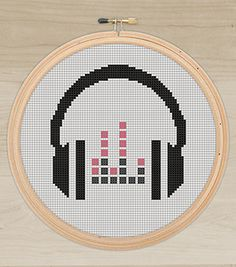 Instant download, Free shipping,  Cross-Stitch PDF, headphone, music, cross stitch, cross stitch pattern by aylinyacom on Etsy