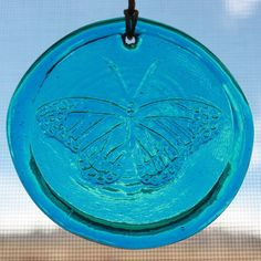 Follow us to http://freecycleusa.com Window Suncatcher Butterfly in Blue Hanging Glass Suncatcher - 3.25 in Dia. made from recycled glass