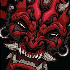 What if Star Wars was set in the Samurai era AD) Inspiration taken from Mei Sho (action figures) Darth Maul Oni! Oni Tattoo, Samurai Tattoo, Tattoos, Japanese Illustration, Graphic Design Illustration, Illustration Art, Japanese Mask, Japanese Tattoo Art, Oni Art