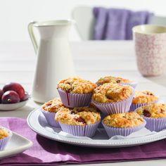 Pflaumenmuffins - Rezept von Backen.de Streusel Muffins, Ober Und Unterhitze, Mini Cupcakes, Breakfast, Desserts, Chocolate, Brot, Onion Tart, Dessert Ideas